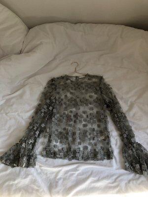 Transparente Bluse Shirt langarm Blumen spitze Vintage Look Muster Stickerei Mint grün zart Barock weite Ärmel