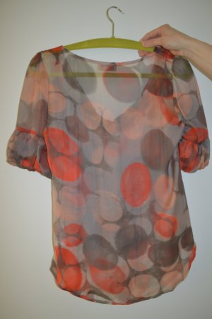 Apriori Blouse salmon-grey brown silk