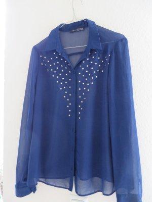 Transparente Bluse von Atmosphere, dunkelblau, Gr. 40