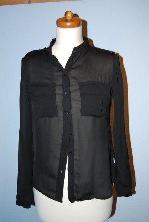 transparente Bluse von Bershka Gr. S in schwarz