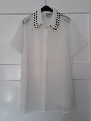 Asos Blusa transparente blanco-negro Poliéster