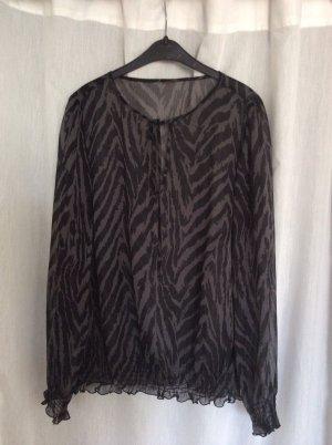 Transparente Chiffon-Bluse im Zebra-Look in grau-schwarz