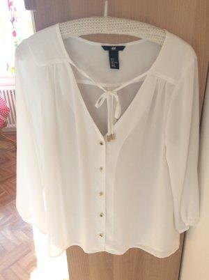 Transparente, cremefarbene Bluse von h&m