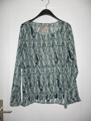 Transparente grün-weiß gemusterte Bluse von Garcia