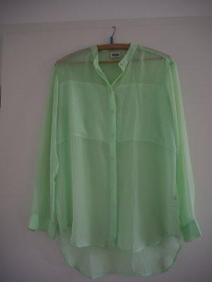 Transparente Hemd- Bluse mit Rundhalskragen in Mintgrün von Weekday