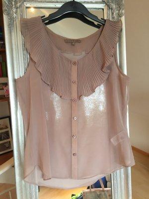 Transparente lilarosefarbene Bluse mit plissiertem Kragen