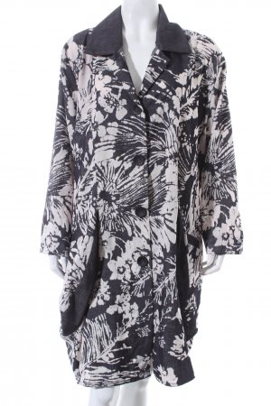 Transparente Long-Bluse dunkelgrau-wollweiß florales Muster Boho-Look