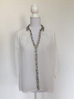 Transparente Long-Bluse mit Ziersteinen von Vera Moda in Größe S