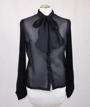 Transparente Schluppenbluse Schwarz Größe 36 38 Plissee Ärmel Bluse Schleife Sekretärin