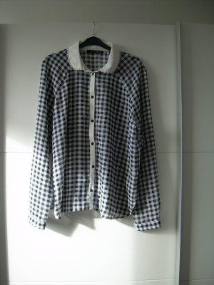 transparente schwarz-weiß karierte Bluse Gr. 42 von Atmosphere