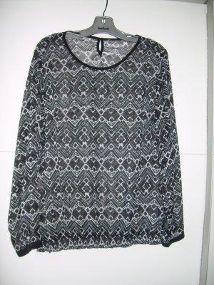 transparente schwarz-weiße Tunika-Bluse von Gina Benotti Gr. L 44/46 mit Muster