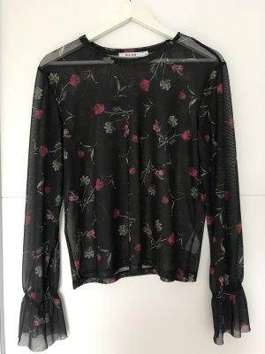 Transparente schwarze Bluse mit Blumenprint