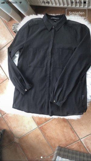 Transparente schwarze Bluse mit Pünktchen