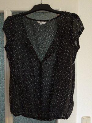 Transparente schwarze Bluse mit weißen Dreiecken *M*