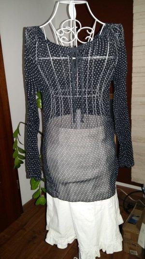 transparente schwarze Bluse mit weissen Punkten  von Deichgraf Gr 36