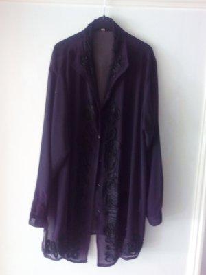 transparente sehr chice lange Bluse von Collection h, mit Ornamenten, schwarz