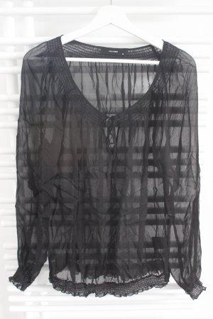 Transparente Seidenbluse von Hallhuber schwarz Größe 38