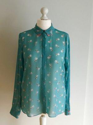 Transparente türkis-blaue Bluse mit Kragen und Doggenprint