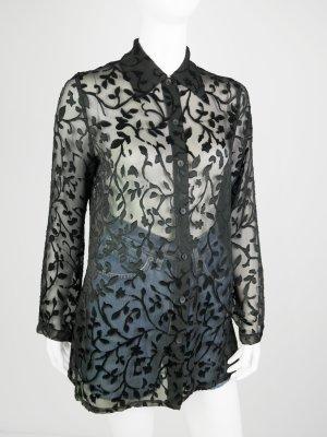 Transparante blouse zwart Polyester