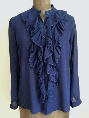 Transparente Vintage Bluse mit Volants, Gr. L (40/42)