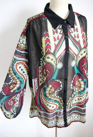 Transparente vintage Bluse oversized, boho Bluse Aztekenmuster, 70er Festival