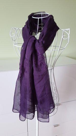 Sciarpa di seta lilla-marrone-viola