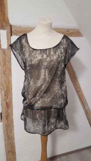 Transparentes Chiffon Shirt Tunika Minikleid Größe 40