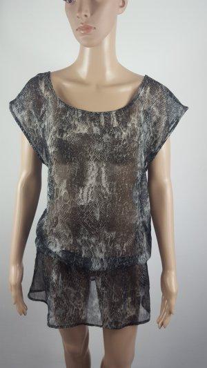 Transparentes Damen Chiffon Shirt Tunika Minikleid Größe 40 Strandkleid