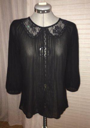 Transparentes Oberteil/ Bluse mit Spitze und Falten, schwarz, S/ 38, vintage-Style