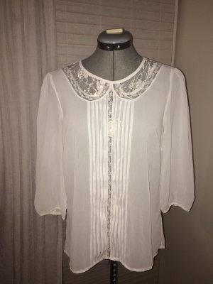 Transparentes Oberteil/ Bluse mit Spitze und Falten, weiß, S/ 38, vintage-Style