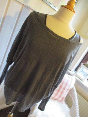 Camisa holgada gris antracita-gris oscuro tejido mezclado