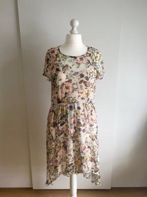 Transparentes Seiden-Kleid mit Blumenmuster