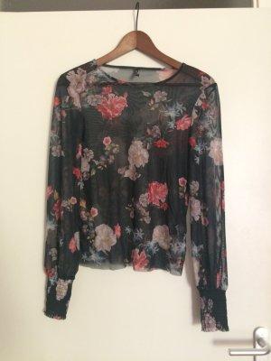 Transparentes Shirt mit Blumenprint