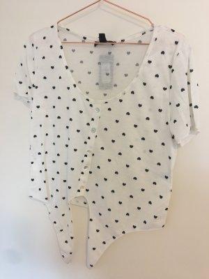 Transparentes Shirt mit Herzen und Schnürung