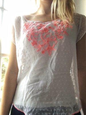 transparentes Shirt von Hollister mit neonfarbener Stickerei