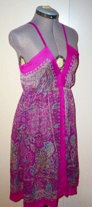 Transparentes Sommerkleid, Paisley-Muster, Gr. 38, pink, bunt, Ibiza-Style