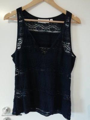 H&M Top di merletto blu-blu scuro