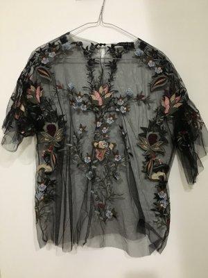 Transparentes Top mit Blumenmuster Zara