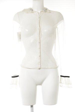 Transparenz-Bluse creme-schwarz Casual-Look