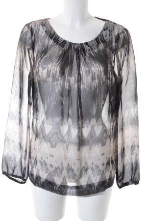Transparenz-Bluse schwarz-creme abstraktes Muster Business-Look