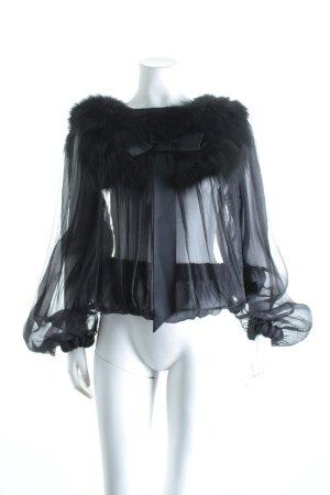 Transparenz-Bluse schwarz Glitzer-Optik