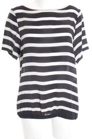 Transparenz-Bluse schwarz-weiß Streifenmuster klassischer Stil