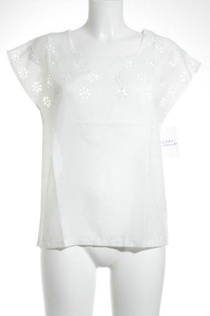 Transparenz-Bluse weiß Blumenmuster Elegant