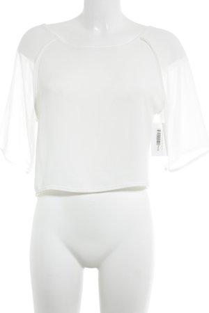 Transparenz-Bluse weiß schlichter Stil