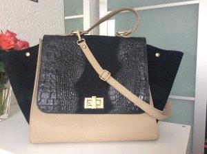 Trapez Handtasche aus Leder