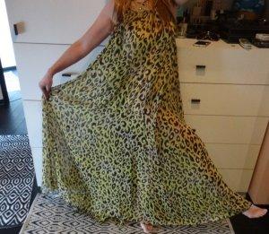 TRAUM! Maxikleid Beach Strand Kleid Chiffon Leo gelb nude schwarz zara