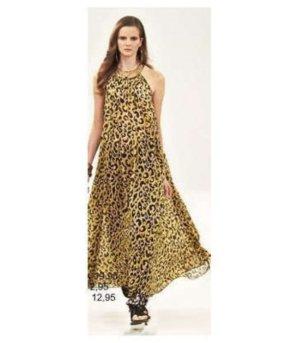 TRAUM! Maxikleid Conscious Beach Strand Kleid Chiffon Leo gelb nude schwarz