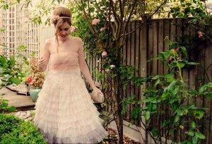 Traum!! Tüll Kleid Carrie Prom Ball Rüschen Hochzeit nude schwarz S 36 mango