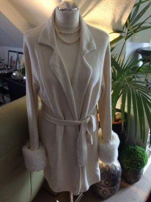 Traum Wintermantel Strickjacke mit Fake Fell Gr. M L creme weiss von Cartoon
