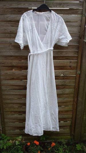 Traum Zara Maxikleid Sommerkleid  gr S Ibizakleid Spitzenkleid Jugendstil Hochzeitskleid Weiss